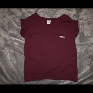 PINK Short Sleeve Crop Top